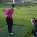 LPGA Tour Golfer Amy Boulden using our composite tee at the Rydal Training Facility